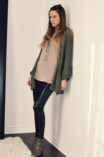 green Topshop cardigan - green H&M t-shirt - black Ebay leggings - gray ASH boot
