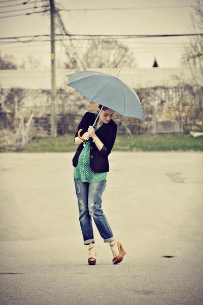 green polka dot Forever 21 blouse - blue boyfriend fit Topshop jeans