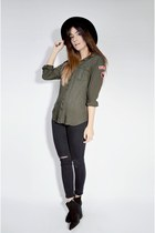 army green army Ardene shirt - black skinny ripped Topshop jeans