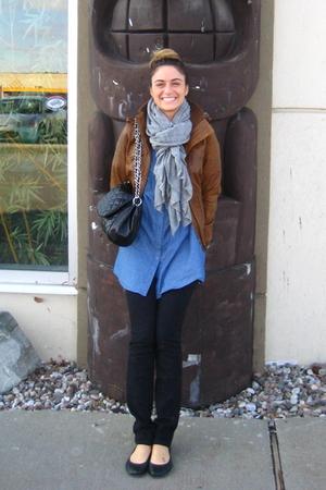 new look jacket - Forever 21 shirt - Ardene jeans - Aldo - Ardene scarf - Ardene