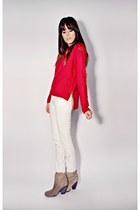 red knit Smart Set sweater - ivory skinny Smart Set jeans