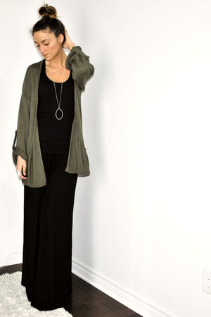 green Topshop cardigan - black Target dress - silver David Bitton  Buffalo neckl
