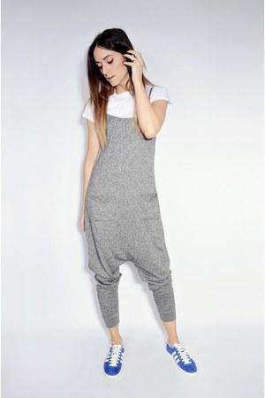 charcoal gray harem Zara romper - blue gazelle og Adidas sneakers