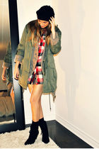 green H&M jacket - gray Simons cardigan - red Forever 21 shirt - black Ardene ha