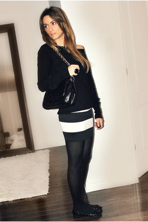 black stripe elastic Sirens skirt - black Ardene shoes - black H&M sweater