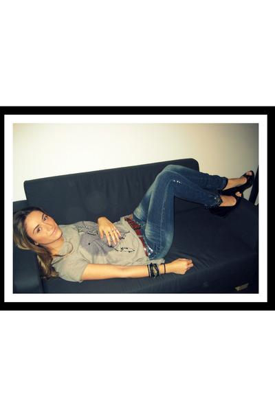 blue Zara jeans - black diy Aldo shoes - brown vintage belt