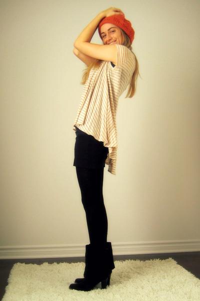Ardene hat - Urban Outfitters - American Apparel skirt - H&M stockings - Aldo bo