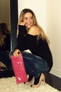 Black-h-m-top-blue-zara-jeans-beige-aldo-shoes-pink-miu-miu-black-david-