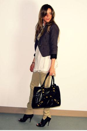gray Forever 21 blazer - white Ebay blouse - beige Zara pants - black Aldo boots