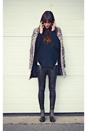 black studded PERSUNMALL boots - black PERSUNMALL sweater