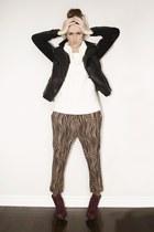 camel zebra print H&M pants - crimson suede patent Bakers boots