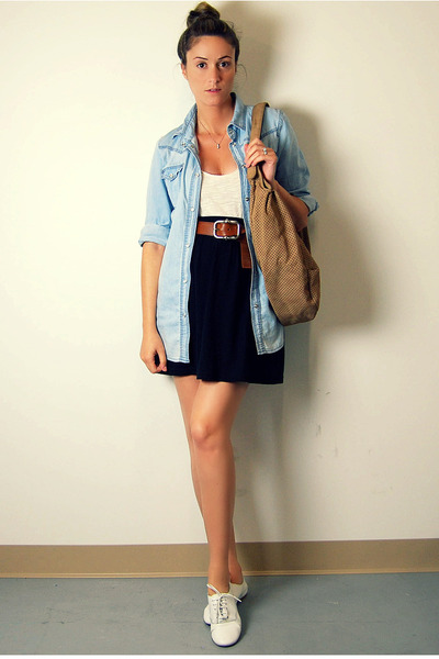 blue Zara shirt - white Ardene top - black American Apparel skirt - brown vintag