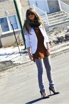 heather gray Ardene jeans - white Zara blazer - black eternity Ardene scarf - bl