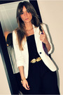 White-zara-blazer-black-h-m-black-aldo-shoes-gold-h-m-belt-purple-ardene