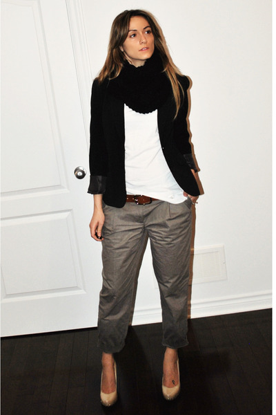 black Sirens blazer - white Ardene t-shirt - gray H&M pants - brown vintage belt