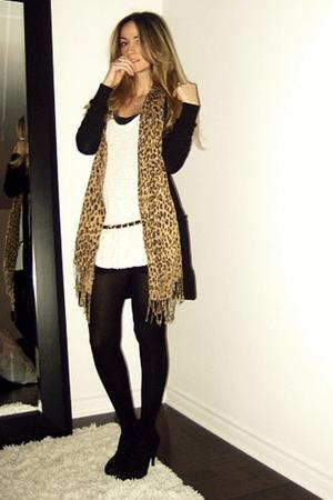 black H&M cardigan - white Ardene top - black American Apparel skirt - black Ald