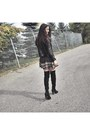 Black-aldo-boots-black-printed-mini-ardene-dress