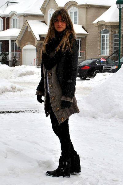 black le chateau jacket - gray Simons cardigan - black Ardene jeans - black Aldo
