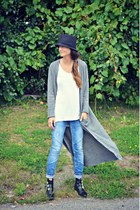heather gray maxi Oasapcom cardigan