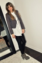 red Forever 21 blazer - white Target shirt - black Zara leggings - gray Sirens b