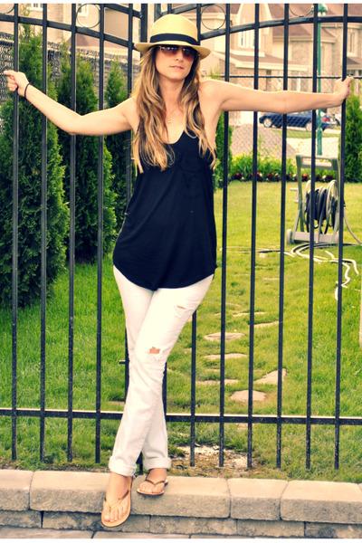 beige Ardene hat - black urban behavior top - blue urban behavior jeans - gold A