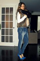 le chateau vest - Zara jeans - Aldo shoes - Ardene scarf - Aldo belt - DKNY top