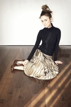 bronze vintage skirt - black turtleneck Ardene top - brown Bakers heels
