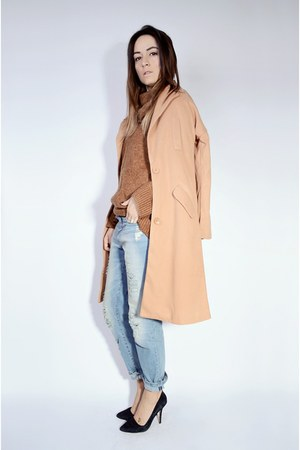 tawny turtleneck H&M sweater - camel milanoocom coat