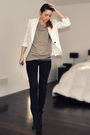 White-zara-blazer-green-h-m-t-shirt-black-ardene-jeans-black-ebay-boots-