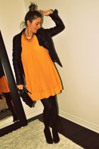 black le chateau jacket - orange H&M dress - black Aldo stockings - black Aldo s