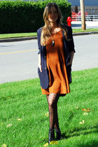 blue Forever 21 blazer - orange H&M dress - black Topshop tights - black Aldo bo