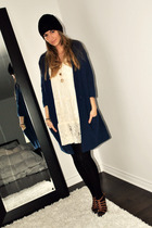 blue Simons cardigan - white Ebay dress - black H&M stockings - brown Aldo shoes