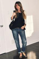 white H&M blazer - black Ardene t-shirt - black Ardene cardigan - blue Topshop j