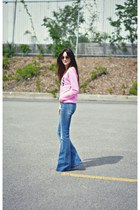 pink Ardene sweatshirt - blue flare H&M jeans