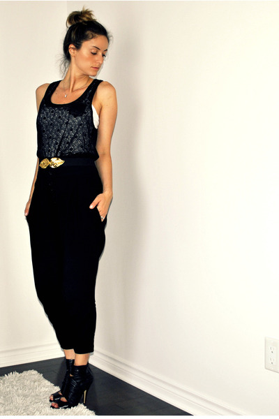 black urban behavior top - white Ardene top - black Zara pants - black H&M belt