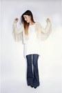Navy-flare-j-brand-jeans-beige-fringe-missguided-jacket