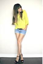 yellow neon necessary clothing blouse - blue diy shorts Levis shorts