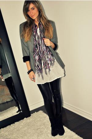 gray Zara blazer - black suede ankle X2B boots