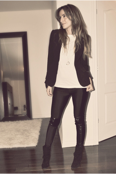 black Sirens blazer - white Walmart t-shirt - black Ebay leggings - black X2B bo