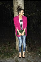 blue drop crotch Zara jeans - hot pink vintage blazer - green Aldo bag - white p