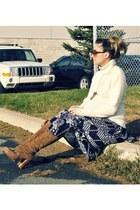 ivory H&M sweater - black vintage skirt - camel Michael Kors boots