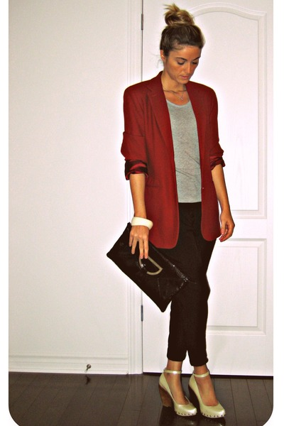red wool Ralph Lauren vintage blazer - beige Aldo shoes - black Ardene
