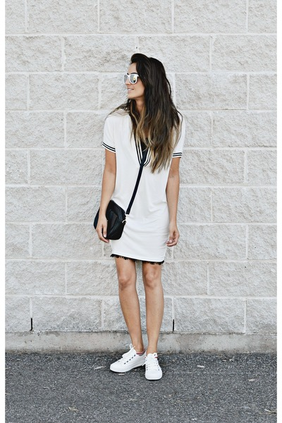 white OASAP dress - white OASAP sneakers
