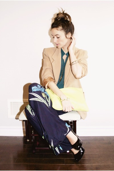 camel wool Ralph Lauren blazer - lime green oversize clutch American Apparel bag