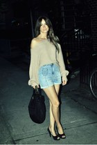 neutral Ebay sweater - black Gucci bag - light blue H&M shorts