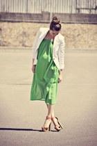 coral GoJane sandals - white Zara blazer - chartreuse Sirens skirt