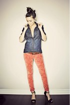 burnt orange burnout velvet Buffalo David Bitton jeans