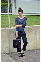 navy OASAP top - black back pack OASAP bag - black Birkenstock sandals