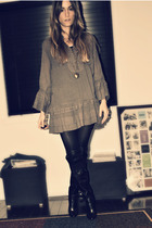 brown Zara dress - black Aldo boots - H&M necklace