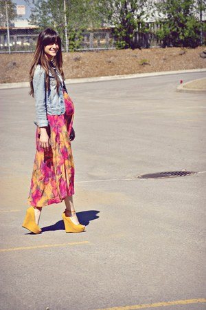 yellow Sirens wedges - light blue denim abercrombie & fitch jacket